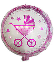 """Шарик фольгированный круглый """"Baby girl розовая колясочка"""" для девочки, диаметр 45 см"""