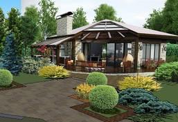Капитальный дизайн частного двора в стиле модерн -1