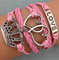 Кожаный браслет многослойный браслет с кулонами Корона, Любовь, Сердечки, цвет - розовый