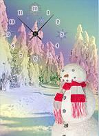 "Картина-часы (50х70 см) ""Снеговик"""