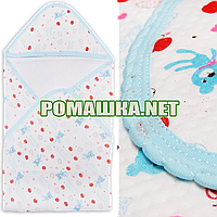 Детская трикотажная пеленка 80х80 с уголком после купания новорожденного 100% хлопок (капитон) 3392 Бирюзовый