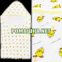 Детская трикотажная пеленка 80х80 с уголком после купания новорожденного 100% хлопок (капитон) 3392 Жёлтый