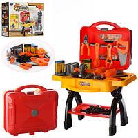 Детский игровой набор инструментов PD167в чемодане, верстак, пила, ключ, плоскогубцы, болты, в кор-ке, 30-38-