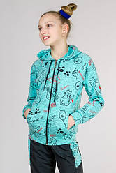 Бирюзовый детский спортивный костюм для девочек модный трикотажный Китти Турция