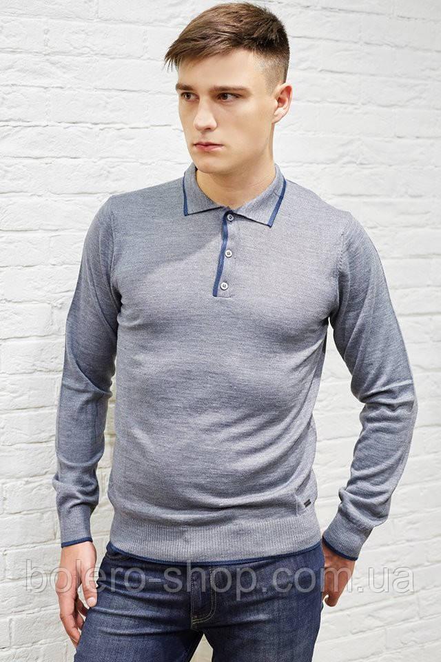 Мужской свитер серый с воротником Bikkembergs