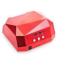 Кристалл многогранник УФ LED+CCFL (36 Вт) гибридная лампа для гель-лаков и геля 10, 30 и 60 сек Красная