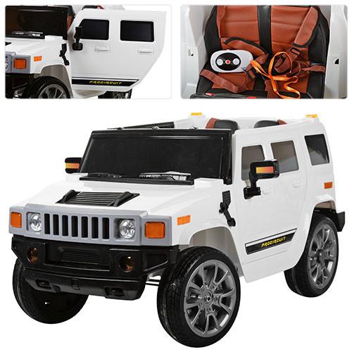 Детский электромобиль Джип Hummer M 3280 EBLR белый, мягкое сиденье, амортизаторы, двери, EVA, ручка-чемодан