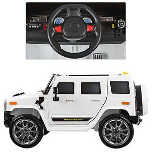 Детский электромобиль Джип Hummer M 3280 EBLR белый, мягкое сиденье, амортизаторы, двери, EVA, ручка-чемодан, фото 2