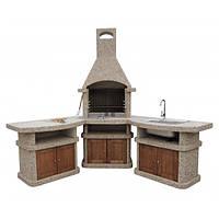 """Барбекю """"Рио+"""" угловой со столом и мойкой с деревянным фасадом"""