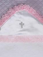 Теплая крестильная пеленка, белая с розовым кружевом
