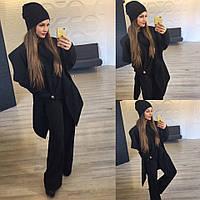 Модный черный  батальный комплект: Пальто, свитер ,шапка +хомут. Арт-9862/83