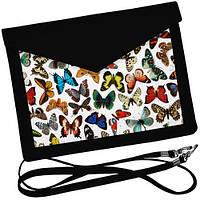Черный клатч конверт с бабочками.