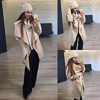 Модный бежевый  батальный комплект: Пальто, свитер ,шапка +хомут. Арт-9862/83
