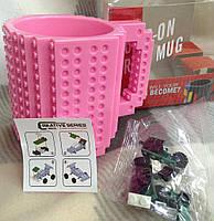 Чашка конструктор Lego Розовая