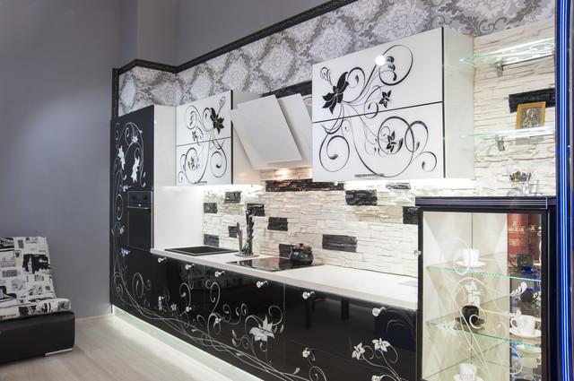 Кухонные гарнитуры стекло с рисунком