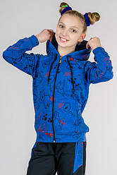 Синий детский спортивный костюм для девочек модный трикотажный Китти Турция