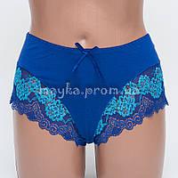 Женские трусы хлопок с кружевом синие р.50  L366-505 Большой выбор нижнего белья!