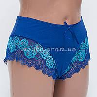 Женские трусы хлопок с кружевом синие р.52  L366-525 Большой выбор нижнего белья!
