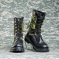 Берцы Нато кожа черного цвета с тканевыми камуфляжными вставками флектарн Германия.