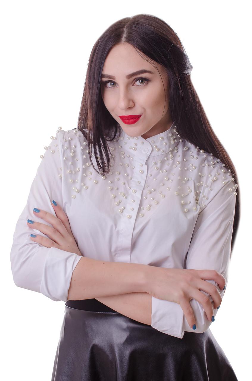 25f9226f256 Женская стильная блузка с жемчугом белого цвета  продажа
