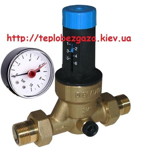 Редуктор давления Watts DRVMN с манометром ø20 мм, рабочее давление 1,5-6 бар.