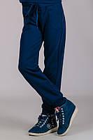 Детские трикотажные штаны спортивные брюки подростковые синие прямые Унисекс Украина