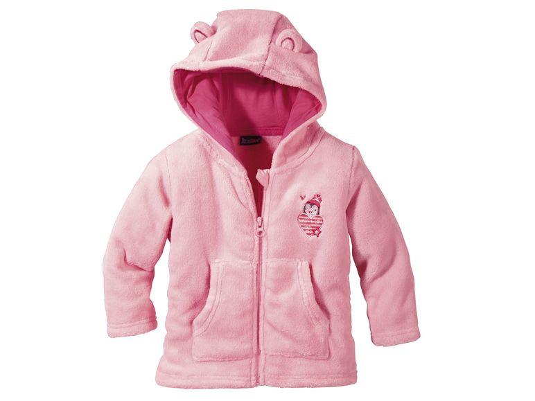 Розовый меховый батник c пингвином р.74/80, 86/92 Lupilu Германия