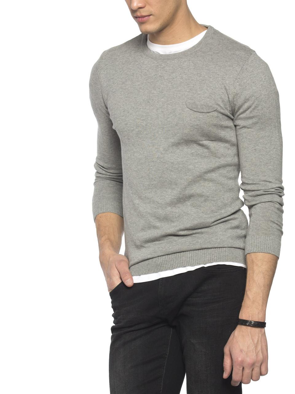 Мужской свитер LC Waikiki светло-серого цвета с карманом на груди