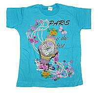 """Футболка детская """"Часы"""" для девочек. размеры 4-8 лет"""