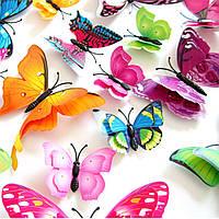 3D бабочки с двойными крылышками для декора.цвет: микс