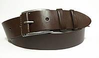 Джинсовый ремень 45 мм гладкий коричневый пряжка хромированная с кожаной вставкой