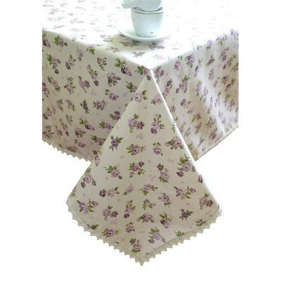 """Скатерть  """"lilac Rose""""с кружевом 120х140 см"""