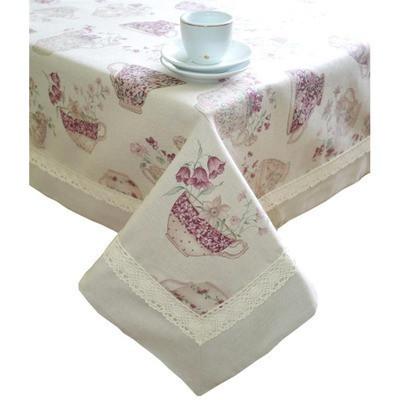 """Скатерть  """"cups""""с кантом и кружевом 220х140 см"""
