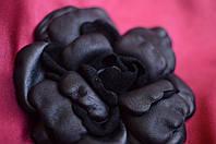 """Крупная брошь из натуральной кожи """"Черная роза"""""""