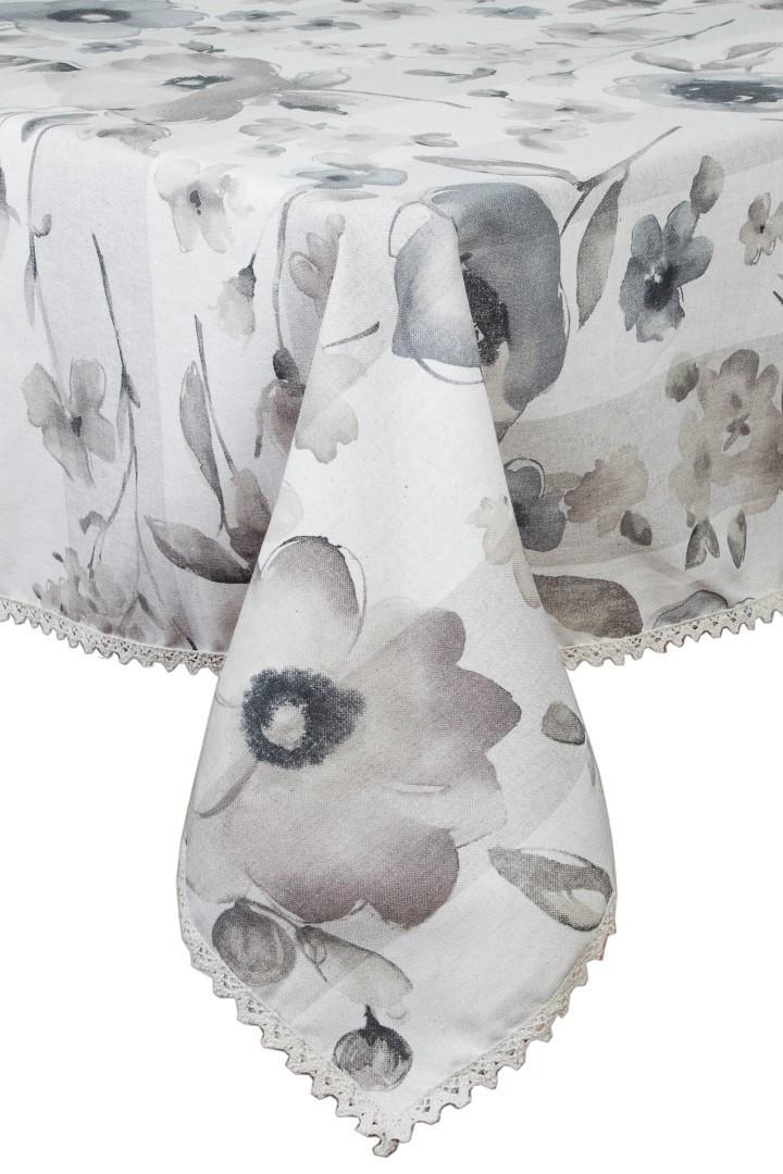 """Скатерть   """"flowers"""" с кружевом 180х140 см"""