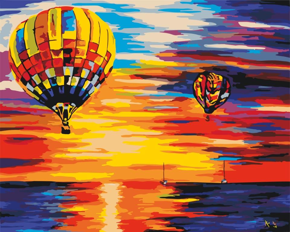 """Картина для рисования Идейка """"Воздушные шары на закате"""" худ. Афремов Леонид (KH2820) 40 х 50 см"""