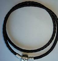 Браслет Пандора (Pandora) 2 оборот (38 см) чёрный натуральная кожа + серебро 925.