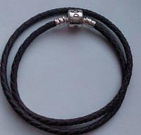 Браслет Пандора (Pandora) 2 оборот (38 см) сиреневый натуральная кожа + серебро 925.