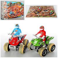 Автотрек детский 8888-27, квадроцикл 9см (инер-й) 2шт, поле-пазл, песок (в кульке), формочки, в кор-ке
