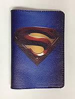Обложка на паспорт кожаная Супермен