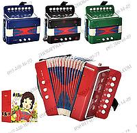 Гармошка 133, детский музыкальный инструмент, 4 цвета, предусмотрены клавиши и кнопки, в коробке 19*18*11 см