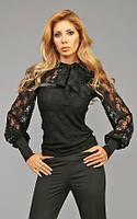 Изысканная блуза гипюр с бантом и длинными рукавами с манжетами