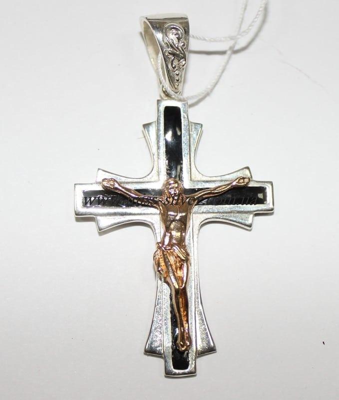 Нательный крест с позолотой