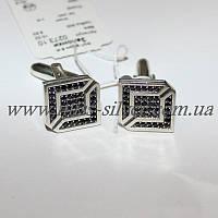 Запонки серебряные с черными фианитами Алекс