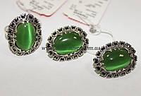 Комплект серебряный с зеленым улекситом Камелия