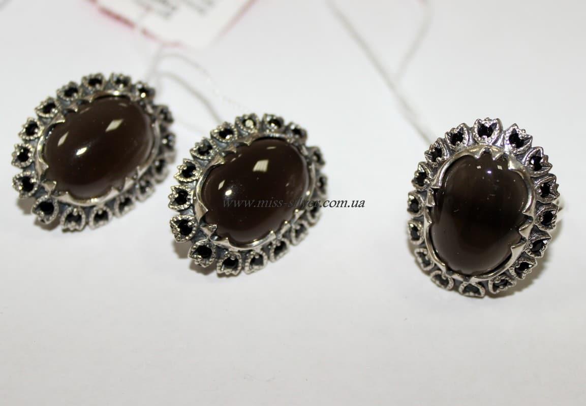 Комплект из серебра с коричневым улекситом Камелия