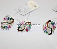 Набор серебряный с  цветными цирконами Фламинго