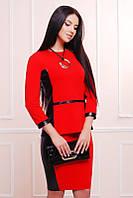 Офисный красный женский   костюм    Баска  FashionUp 42-48  размеры