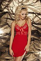 Пеньюар, сорочка с кружевными вставками Ines Dkaren (ДиКарен) красный,черный,экри. Вискоза