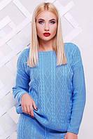 """Вязаный свитер """"Камилла"""" (Голубой)"""